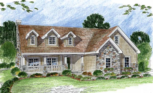 Cape Cod, Traditional House Plan 44054 with 2 Beds, 3 Baths, 3 Car Garage Elevation