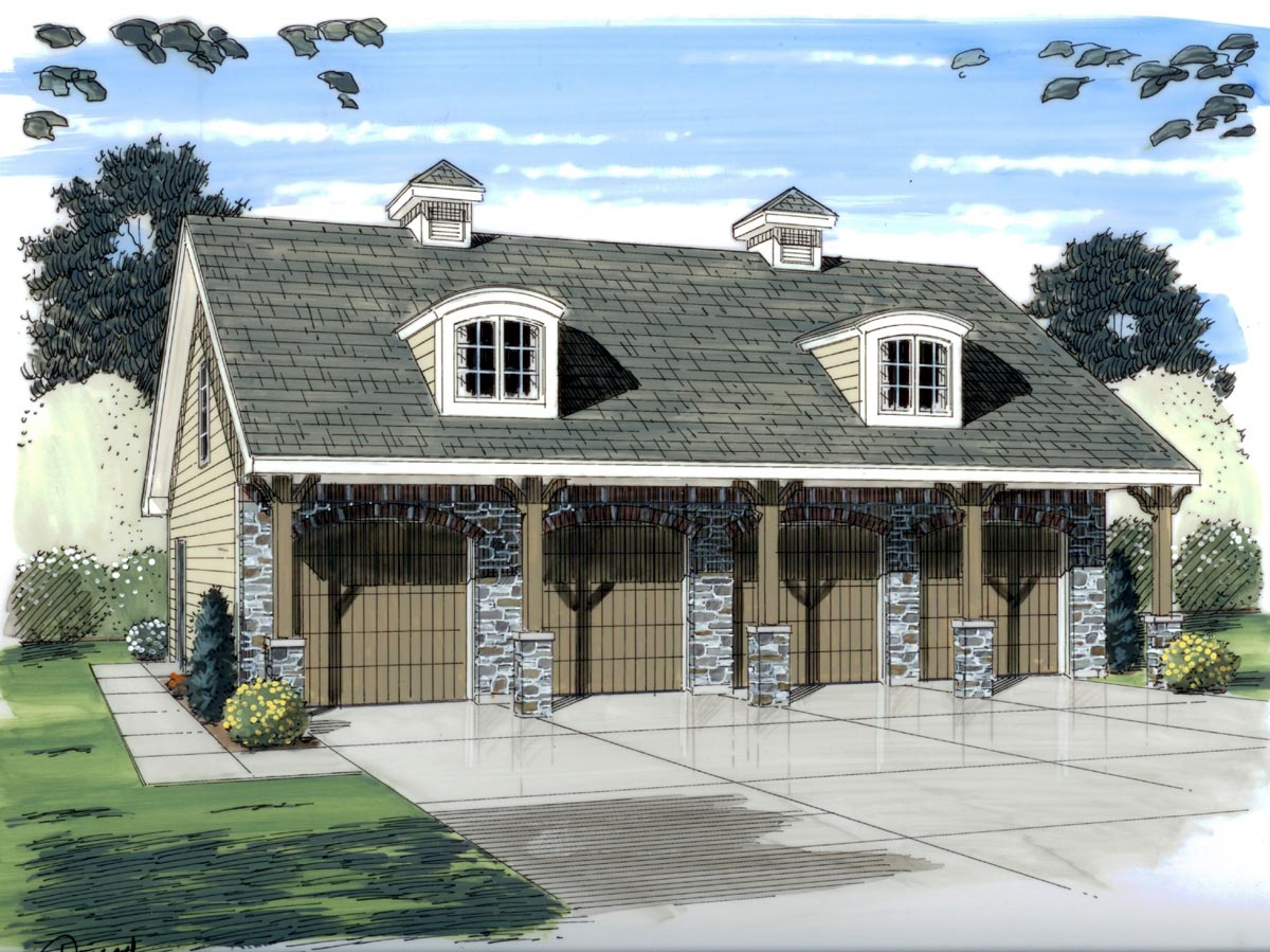 Garage plan 44058 for 4 car garage home plans