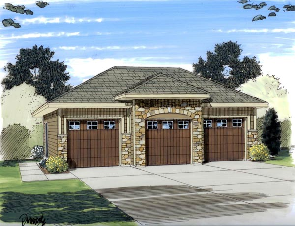 Elevation of European   Garage Plan 44060