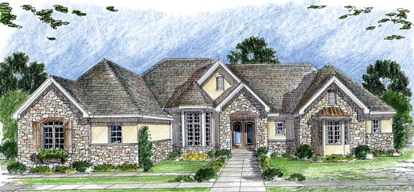 European, One-Story, Traditional House Plan 44064 with 1 Beds, 2 Baths, 3 Car Garage Elevation