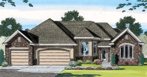 European Traditional House Plan 44067 Elevation