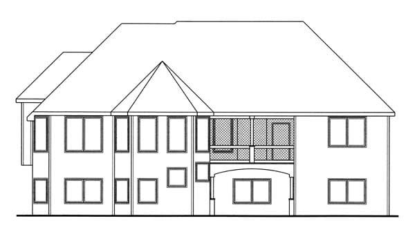 European Traditional House Plan 44067 Rear Elevation