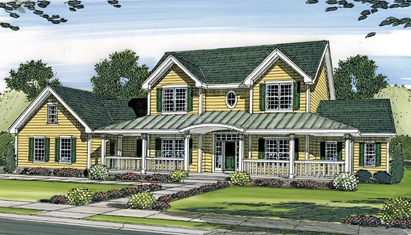 Country Farmhouse House Plan 44083 Elevation