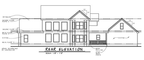 Country Farmhouse House Plan 44083 Rear Elevation