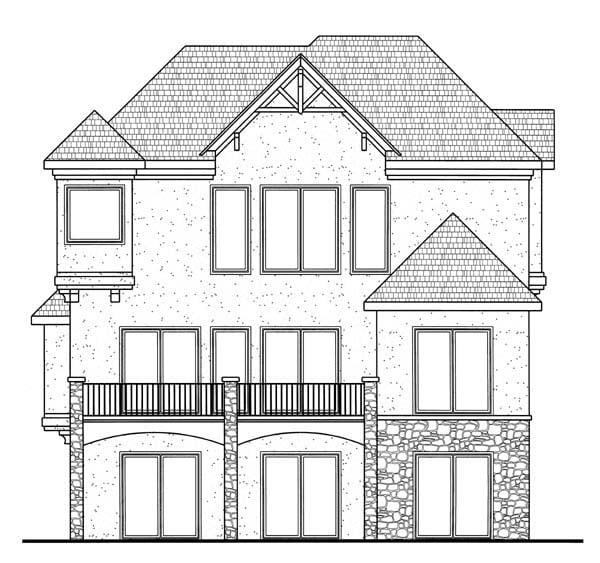 European Traditional House Plan 44096 Rear Elevation