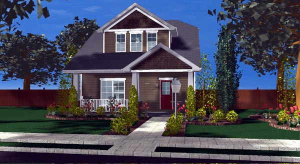 Bungalow Cottage Craftsman Traditional House Plan 44108 Elevation
