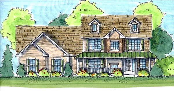 Farmhouse, Traditional House Plan 44117 with 3 Beds, 3 Baths, 3 Car Garage Elevation