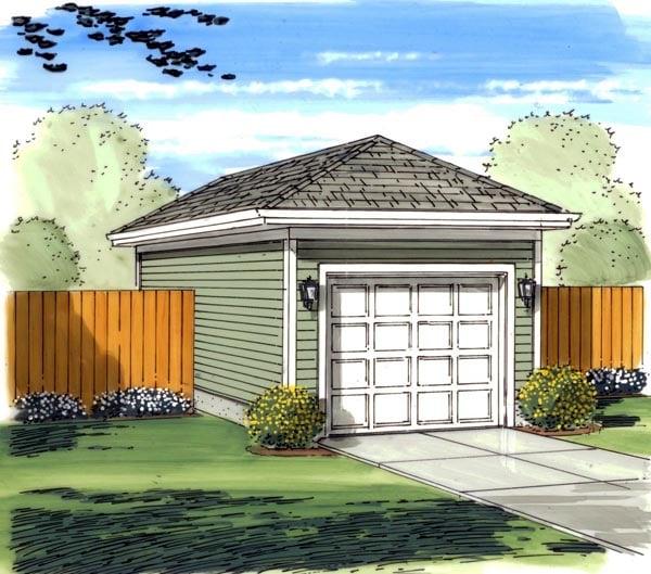 1 Car Garage Plan 44120 Elevation