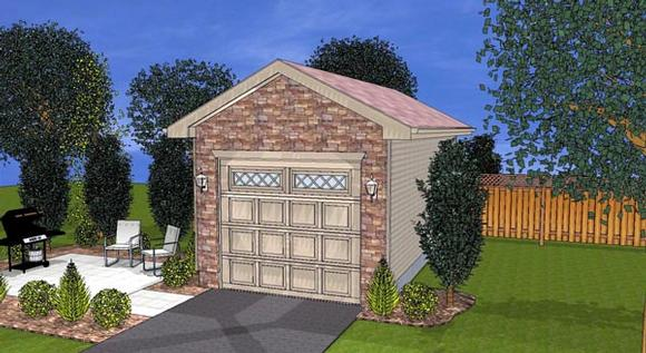 1 Car Garage Plan 44124 Elevation