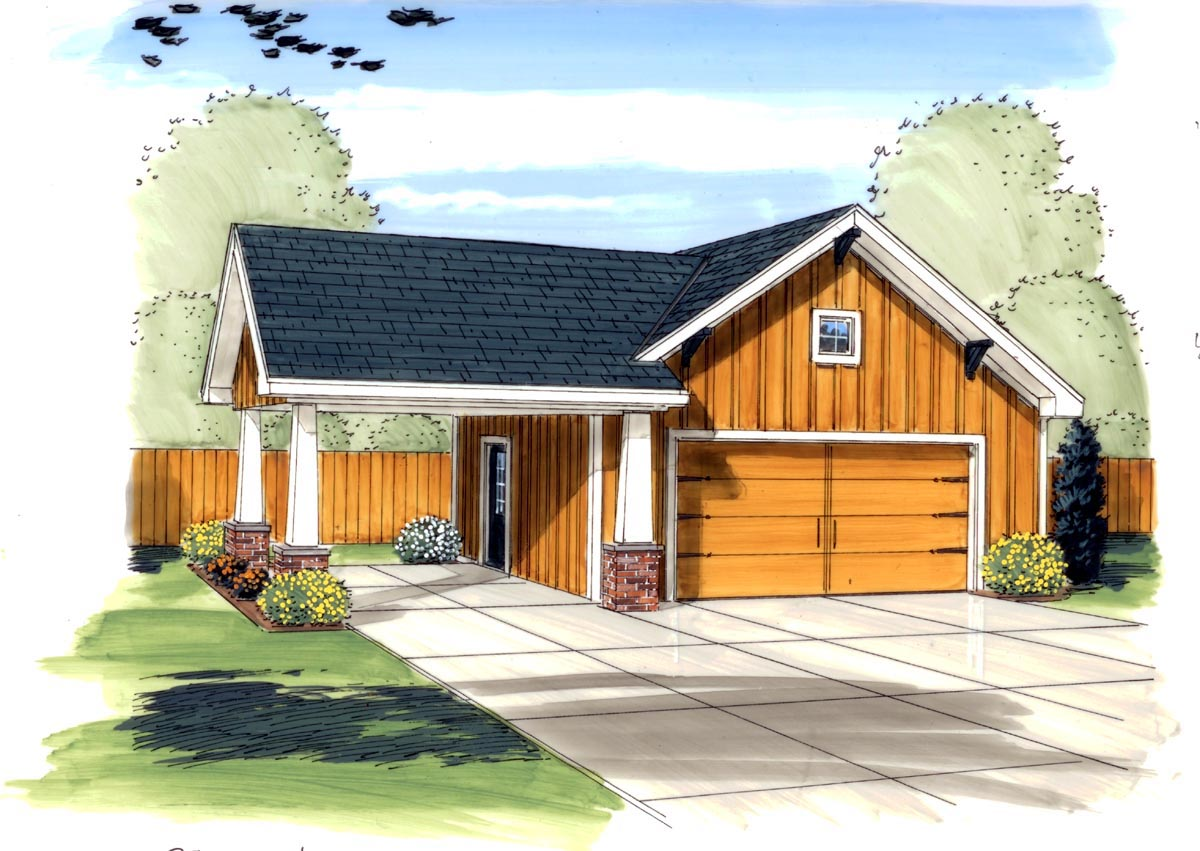 Garage plan 44133 at for Garage apartment plans menards