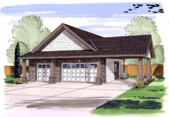 Craftsman, Traditional 4 Car Garage Plan 44136 Elevation