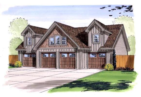 4 Car Garage Plan 44143 Elevation