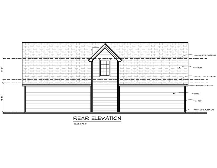 Garage Plan 44143 Rear Elevation