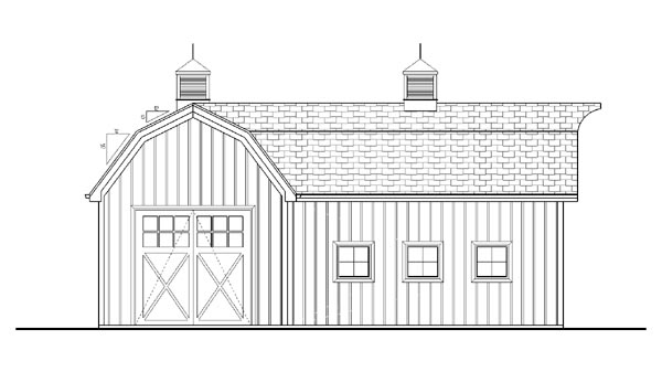 Farmhouse, Traditional 2 Car Garage Plan 44144 Rear Elevation
