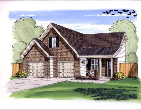 Farmhouse, Traditional 2 Car Garage Plan 44149 Elevation