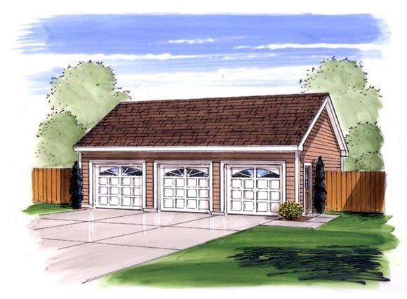 Traditional 3 Car Garage Plan 44167 Elevation
