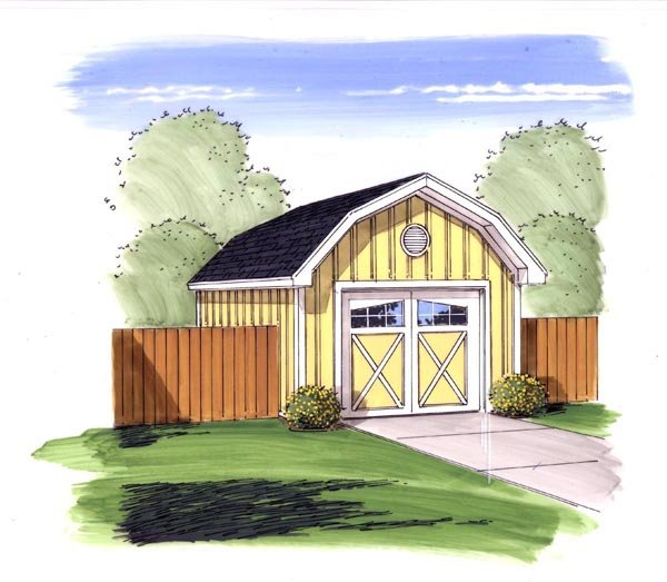 Farmhouse, Traditional 1 Car Garage Plan 44168 Elevation