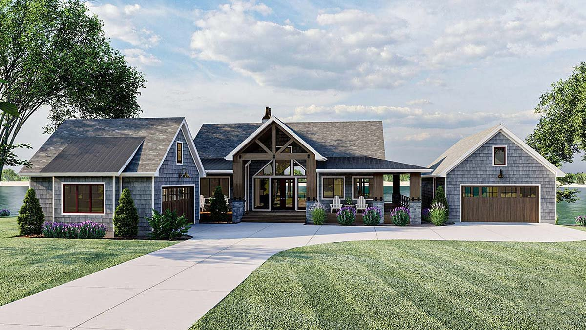 Bungalow, Cottage, Craftsman House Plan 44187 with 2 Beds, 3 Baths, 4 Car Garage Elevation