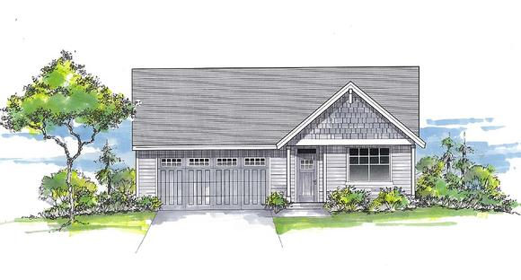 Craftsman, Ranch, Traditional House Plan 44412 with 3 Beds, 2 Baths, 2 Car Garage Elevation