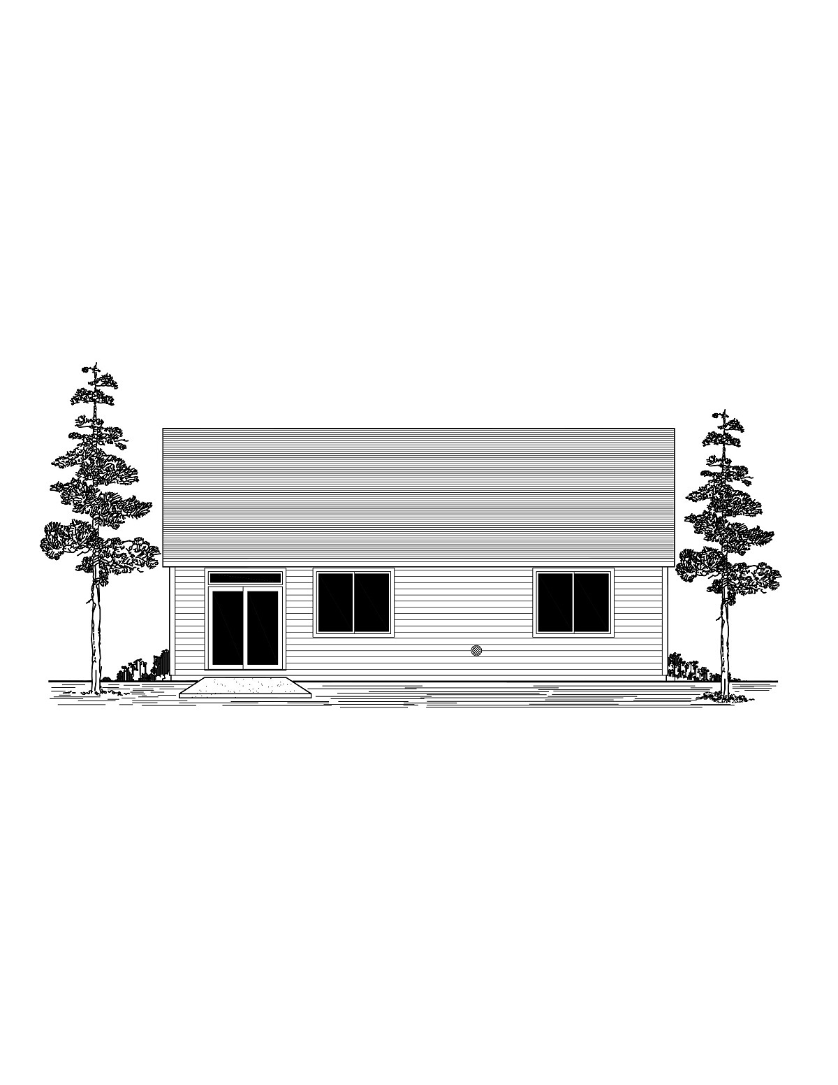 Craftsman, Ranch, Traditional House Plan 44412 with 3 Beds, 2 Baths, 2 Car Garage Rear Elevation