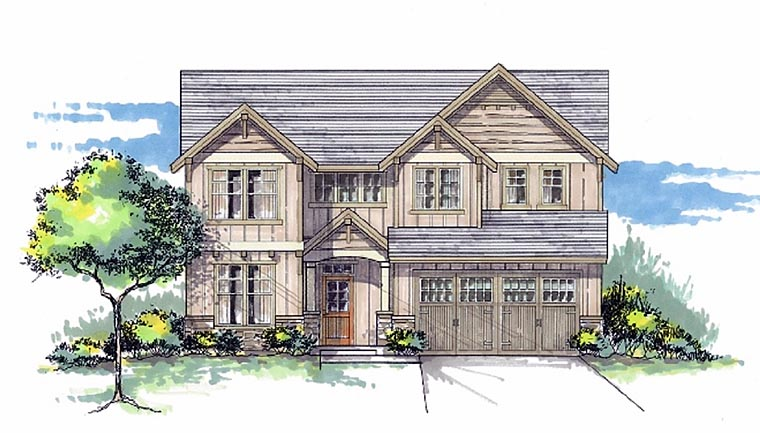 Cottage Country Craftsman House Plan 44601 Elevation