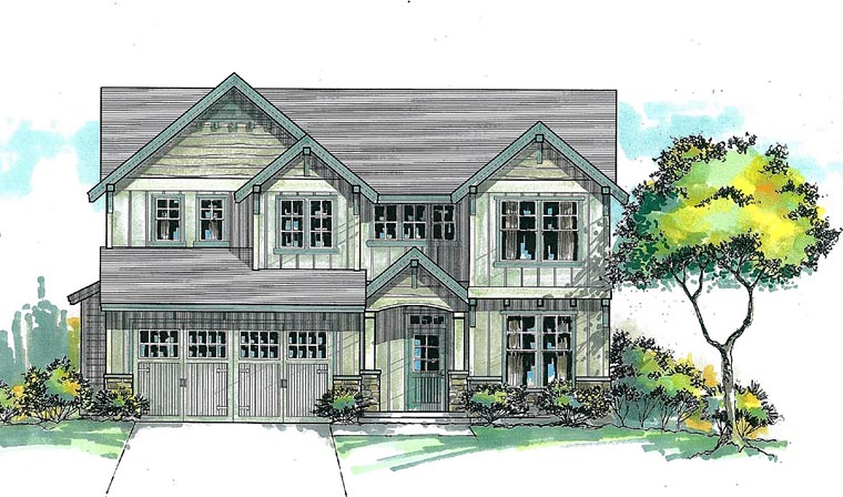 Cottage Country Craftsman House Plan 44618 Elevation