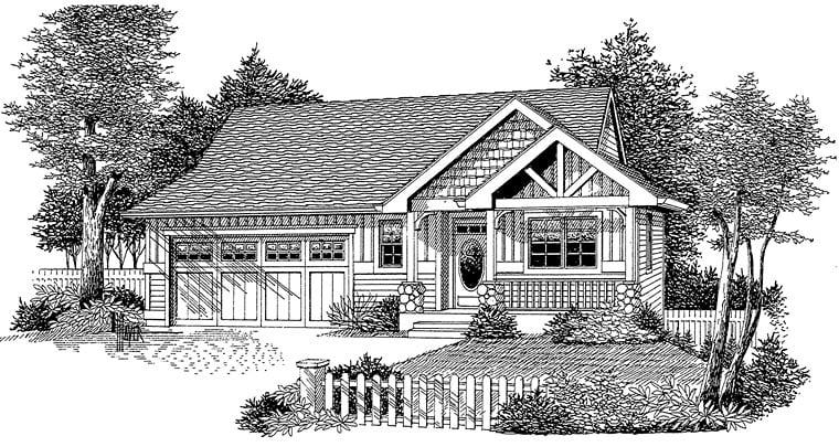 Cottage Craftsman Ranch House Plan 44645 Elevation