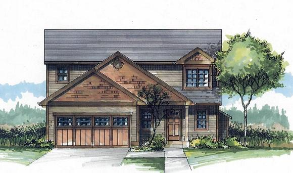 Craftsman, Traditional House Plan 44646 with 3 Beds, 3 Baths, 2 Car Garage Elevation