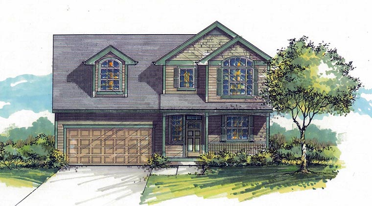 Country Craftsman Traditional House Plan 44648 Elevation