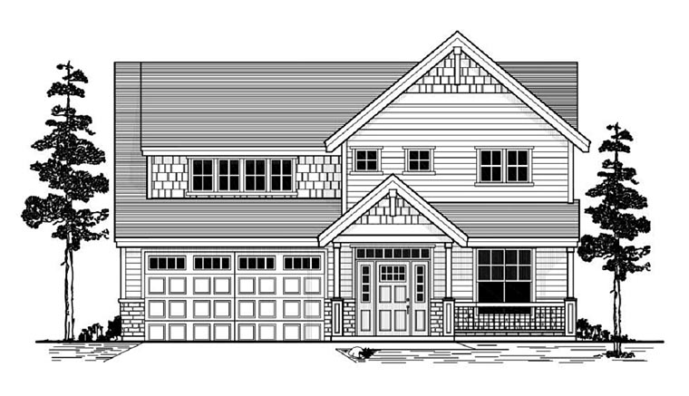Country Craftsman Traditional House Plan 44652 Elevation