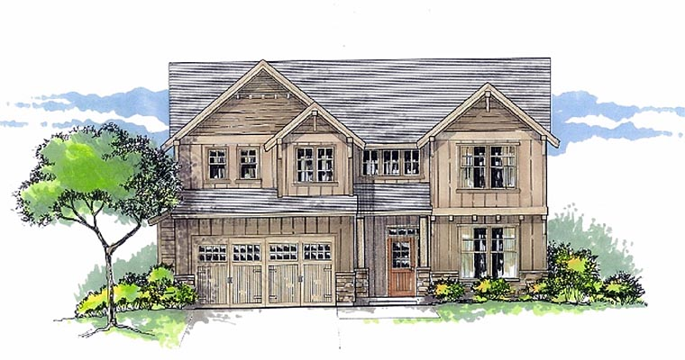 Country Craftsman Traditional House Plan 44657 Elevation