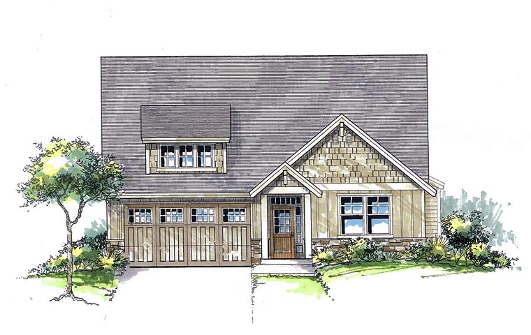 Cottage Country Craftsman Traditional House Plan 44665 Elevation