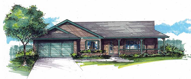 Country, Ranch, Traditional House Plan 44677 with 3 Beds, 2 Baths, 2 Car Garage Elevation