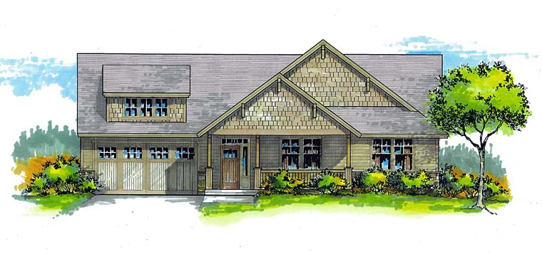 Cottage Country Craftsman Ranch Traditional House Plan 44688 Elevation