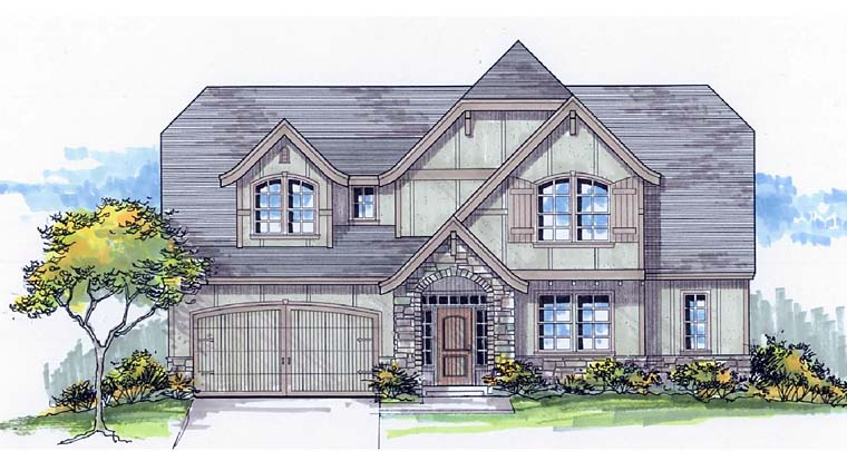 Country Craftsman European Southern Traditional Tudor House Plan 44689 Elevation