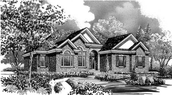 European House Plan 44810 with 3 Beds, 3 Baths, 2 Car Garage Elevation