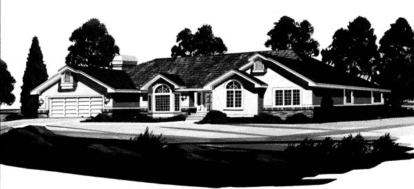 European House Plan 44812 with 3 Beds, 3 Baths, 2 Car Garage Elevation