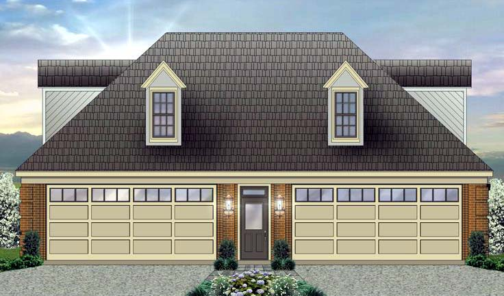 4 Car Garage Apartment Plan Number 44906 with 1 Bed, 2 Bath