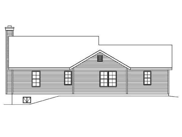 Ranch Traditional House Plan 45102 Rear Elevation