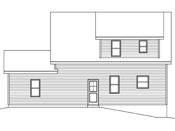 2 Car Garage Apartment Plan 45122 with 2 Beds, 2 Baths Rear Elevation
