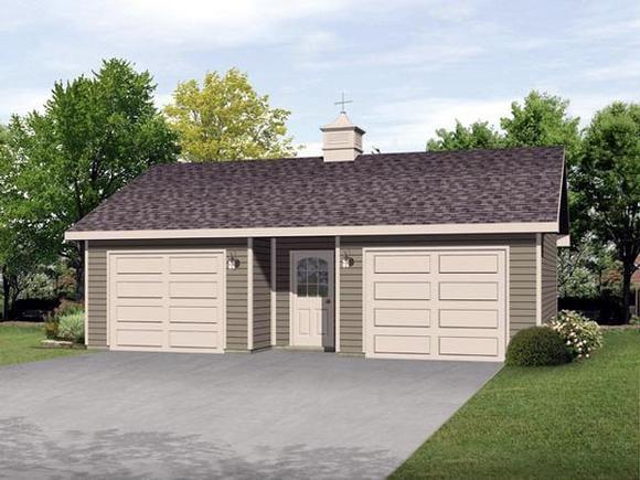 2 Car Garage Plan 45125 Elevation