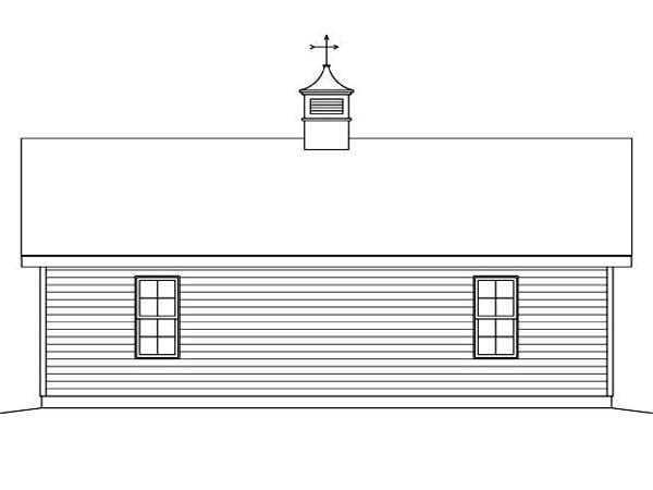 2 Car Garage Plan 45125 Rear Elevation