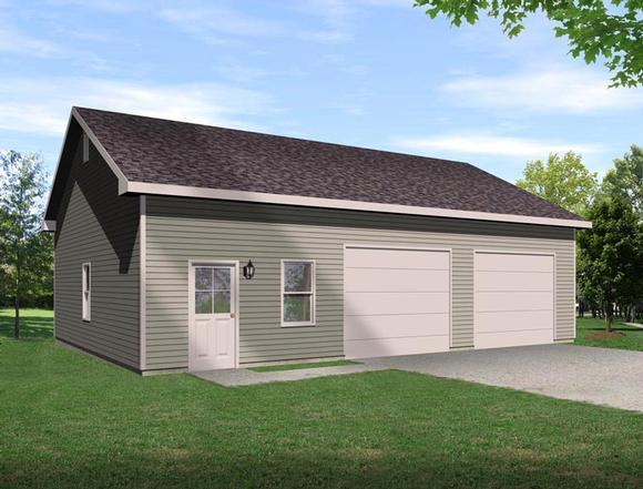2 Car Garage Plan 45129 Elevation