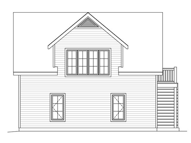 2 Car Garage Plan 45133 Rear Elevation