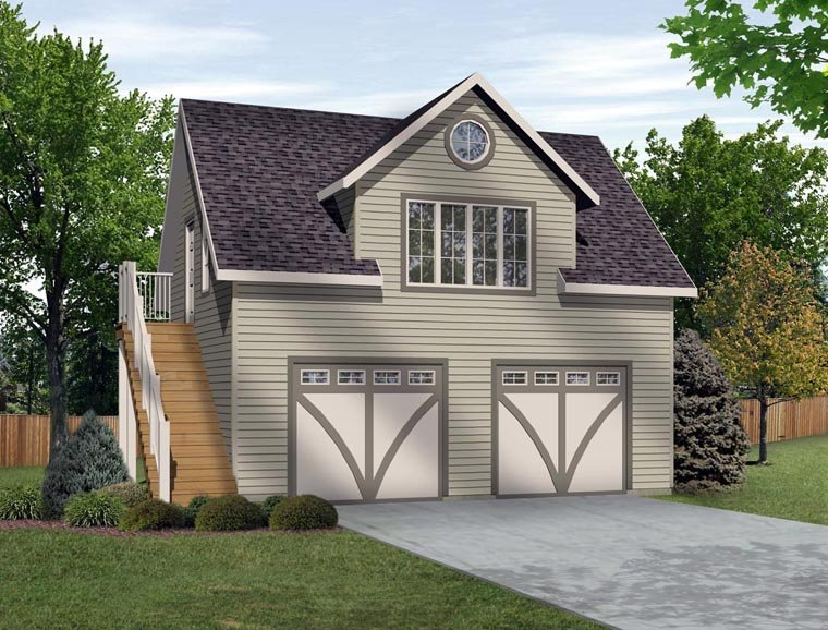 2 Car Garage Apartment Plan Number 45134 with 1 Bed, 1 Bath