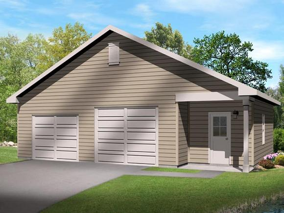 2 Car Garage Plan 45136 Elevation