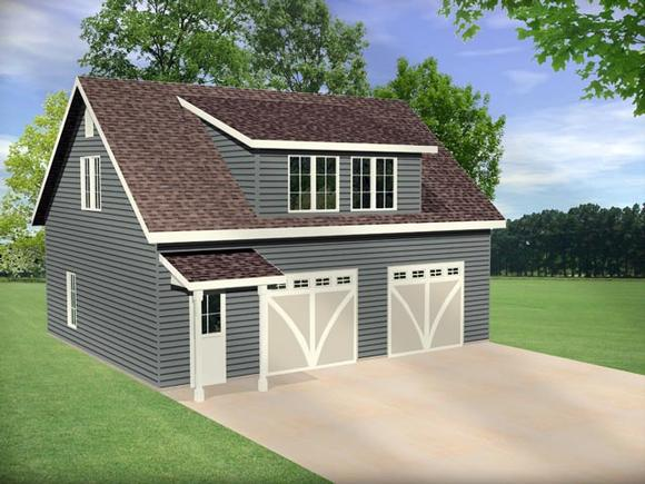 2 Car Garage Plan 45145 Elevation