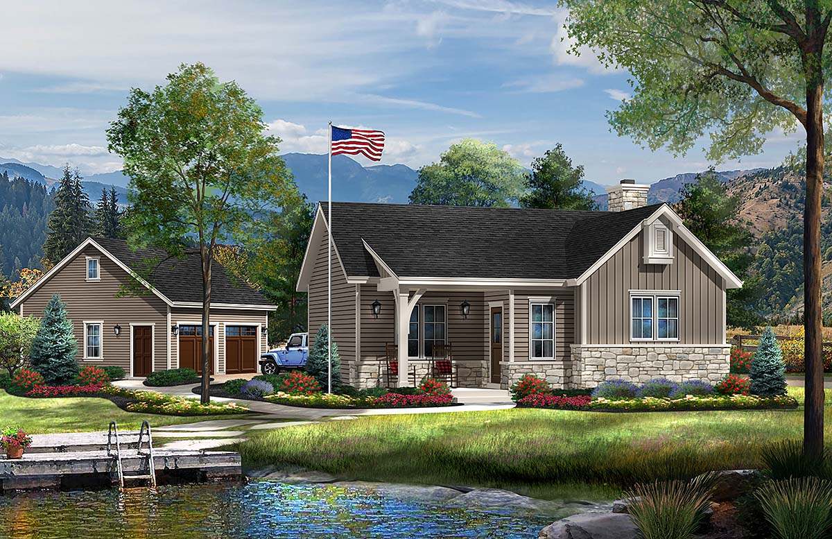 Cabin Ranch Traditional House Plan 45152 Elevation