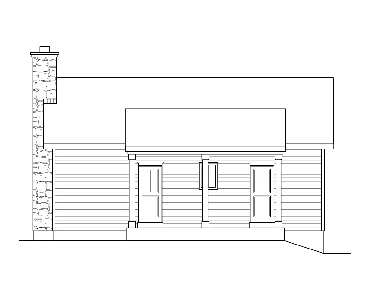 Cabin Ranch Traditional House Plan 45152 Rear Elevation
