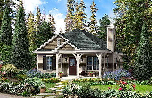 Cabin, Country, Traditional House Plan 45154 with 2 Beds, 2 Baths Elevation